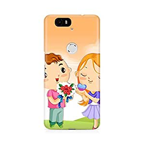 Motivatebox - Huwaei Nexus 6p Back Cover - Cute girl and boy Polycarbonate 3D Hard case protective back cover. Premium Quality designer Printed 3D Matte finish hard case back cover.