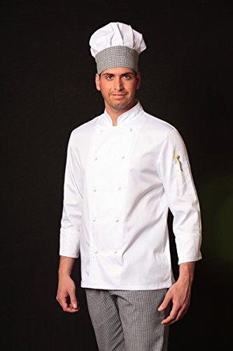 completo bianco da cuoco giacca e pantalone da cucina sale e pepe con cappello