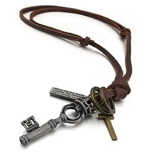 Amazon.com: Men's Alloy Genuine Leather Pendant Necklace Silver Key