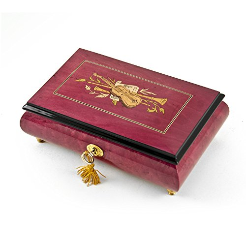 Radiant 18 Note Red Wine Violin Inlay Musical Jewelry Box with 18 Note Tune-Take Me Home Country Roads (John Denver)