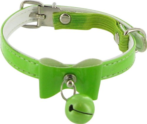 Bells & Bows Cat Safety Collar with Bell - Green, 3/8