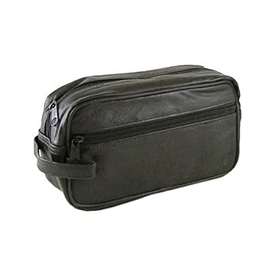 Mens Compact Black Leather Shaving Toiletry Bag