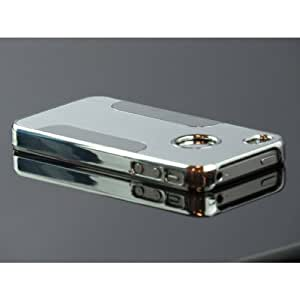 Gioia Bazaar Luxury Steel Aluminum With Design W/Chrome Snapon Hard Cover Case for iPhone 5 5S 5G Silver