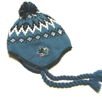 San Jose Sharks Tassel Knit Beanie Hat with Black & Blue Ball Top at Amazon.com