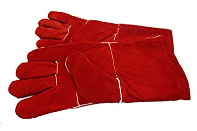 Woodburner Gloves High Temperature Stove Long Lined Welders Gauntlets Logs