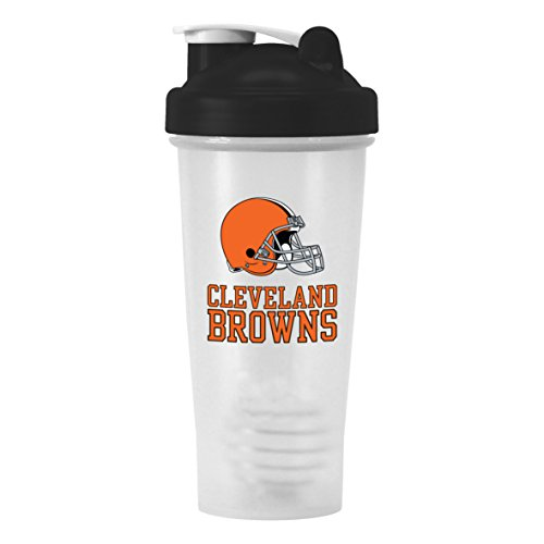 Nfl Cleveland Browns Shaker Bottle With Ball, 28-Ounce, Clear