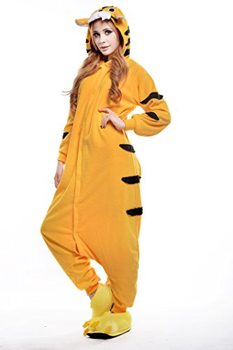 Yellow Tiger Adult Halloween Costumes Pajama Onesies (L) front-674913
