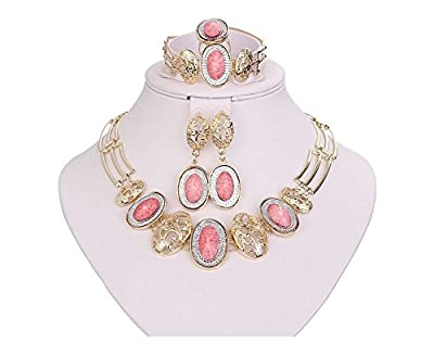 "Jewelry Sets ""JULIA"" African Beads Collar Statement Necklace Earrings Bracelet Ring for Women Diamond Wedding Party"