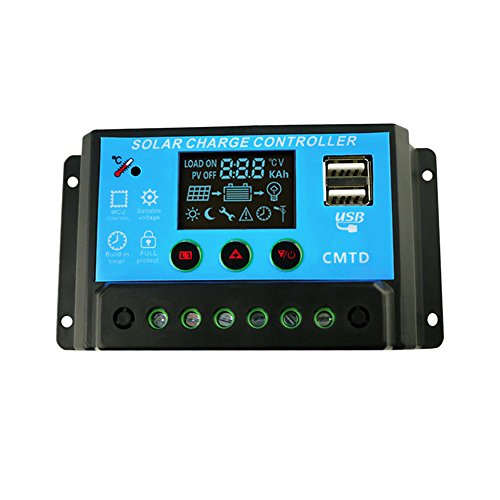 JVR® TL49 LCD 20A 12V/24V PWM Solar Panel Charge Controller Battery Regulator Adapter with Dual USB Ports 5V 2A Output for Home House Boat Camping RV Solar Power System Solar Lighting Garden Use