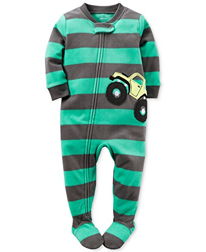 carters-baby-boys-1-pc-fleece-footed-pajamas-18-months-turquoise-truck