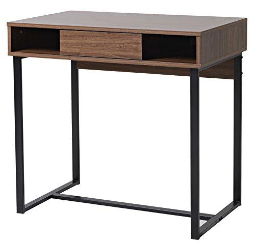 bonVIVO-Designer-Schreibtisch-COCO-moderner-SekretrSchminktisch-mit-Schublade-im-stilvollen-Mix-aus-Holz-in-Mokka-Braun-und-eleganten-Stahlkufen-in-schwarz