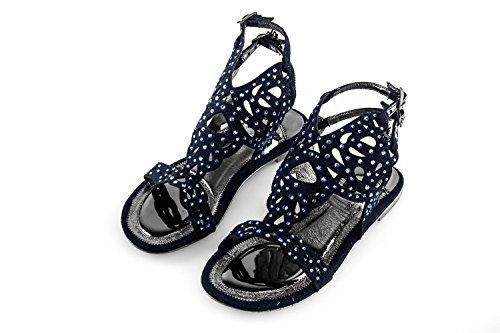 Scarpe donna WHY ALBERTO VENTURINI N.38 sandalo basso blu con strass X3142