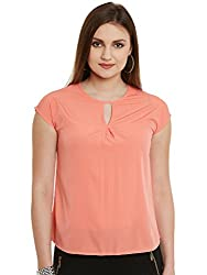 Coral Pink Solid Poly Crepe Top