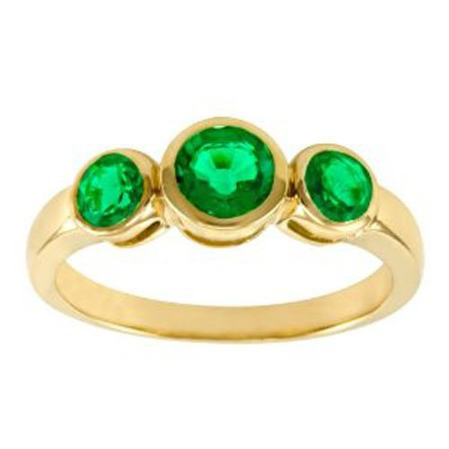 10k Yellow Gold Lab Created Emerald 3Stone Ring, Size 6