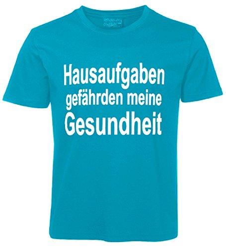 Kinder Sprüche T-Shirt Hausaufgaben... Türkis Größe 152
