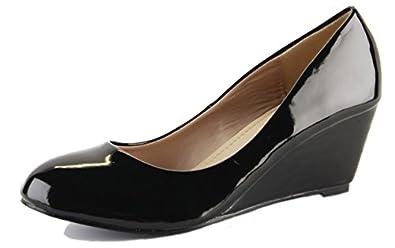 Ladies Wedge Shoes Smart Pumps Wedges High Heel Classic Court Platform Size - shoeFashionista Branded