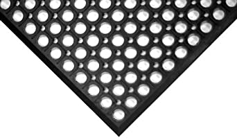 "Wearwell Natural Rubber 474 WorkRite Anti-Fatigue Mat, for Dry Areas, 3' Width x 5' Length x 1/2"" Thickness, Black"