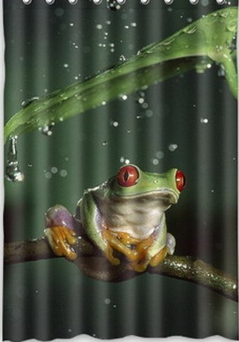 New 48*72 Inch Hot Salea Green Frog Cling To Tree Trunk In Rain Beneath Leaf High Quality Waterproof Shower Curtain front-590663