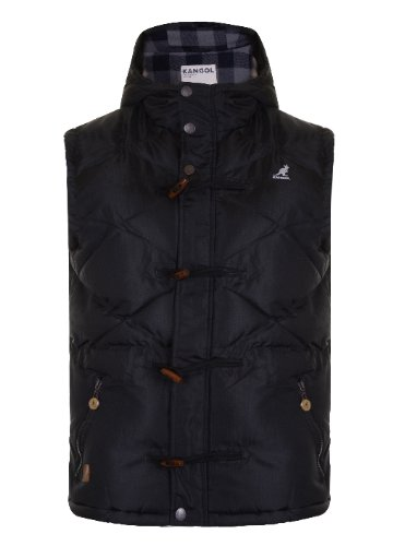 Mens 'Kangol' Padded Gilet With Hood. Style Name - Develop (K601200C). In Black Size - Large