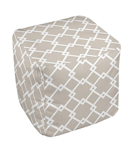 E by design FG-N10-Flax_White-13 Geometric Pouf - 1