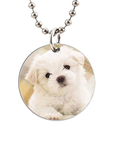 Cute Puppy Image Custom Fashion Design Round Dog Tag Pet Tags Animal Tag Necklace Pendant (One Side Image),Round Dog Tag Size About 1.7 Inches In Diameter By Smile Tag Gift
