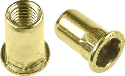 Half Hex Body Large Flange Rivet Nut - Material: Steel-Yellow Zinc, Thread Size: 1/4-20 UNC, Grip Range: .027-.165, 100 Piece Box