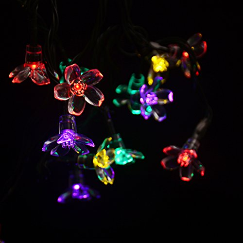 Y-ZONE Solar Powered Christmas Blossom string Lights 50 LED 23ft Peach Flower Fairy Light for ...
