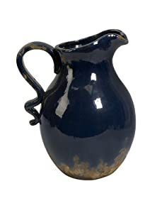 Deep High Gloss Navy blue Rustic Ceramic Pitcher