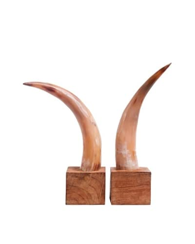 Moo-Moo Designs Horn Bookends, Light Natural