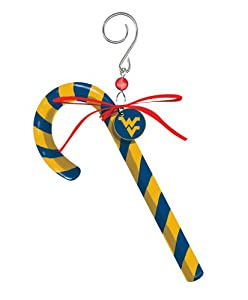 West Virginia University Candy Cane Christmas Ornament