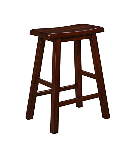 Naomi Home Longmont Wooden Saddle Stool Cherry/24