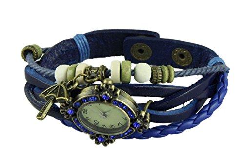 Hp95 Hot Selling Women Leather Vintage Bracelet Wristwatches With Cute Bronze Umbrella Pendant (Darkblue)