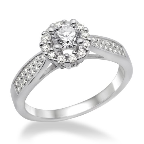 Miore Ladies 925 Sterling Silver Cubic Zirconia Engagement Ring MPS027R