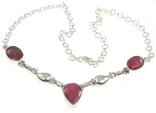 925 Sterling Silver CREATED RUBY Necklace, 16.88