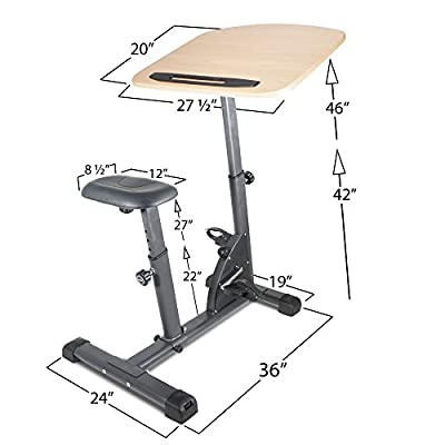 Titan Fitness Cycling Adjustable Standing Desk Sit Stand Up Wooden Top Exerciser