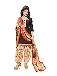 PS Enterprise Brown Cotton Printed Unstitched Dress Material With Dupatta - 11SDP11013
