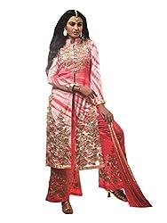 Varanga Peach Banarasi Silk Designmer semi stitched Salwar Suits KF5AJN5007