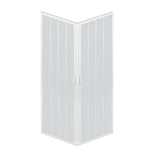 Rollplast BLUN2CONCC28080080 Box doccia a soffietto, dim. 80 x  80 x H 185 cm, in PVC, a due lati, due ante, con apertura angolare., Bianco