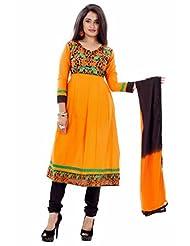 Suchi Fashion Dark Yellow And Black Cotton Embroidered Semi Stitched Suit