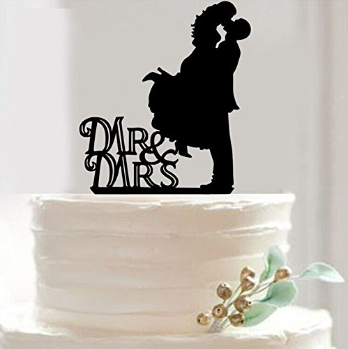 Mr & Mrs Bride and Groom Silhouette Wedding Cake Topper Pick COVERED WITH A PROTECTIVE LAYER WHICH SHOULD BE TORN OFF BEFORE USE(29 optional kinds of styles)