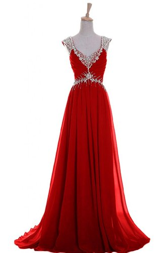 Emma Y Luxury V-Neck Prom Gowns Party Dresses Chiffon Long 2014- Us Size 24W-Red