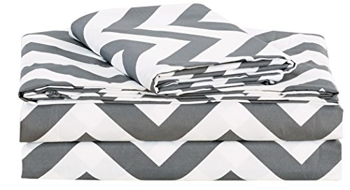 Chezmoi Collection 3-piece Chevron Zig Zag Patterns Sheet Set (Twin Extra-Long, Grey) (Extra Long Queen Comforter compare prices)