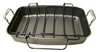 Kitchen Elements Commercial Oversized 17-1/2-Inch Roast and Broil Pan with Rack