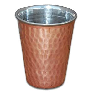Copper Tumbler India Drinkware Glasses Set of 2