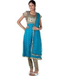 Exotic India Turquoise And Khaki Anarkali Choodidaar Suit Beaded At - Turquoise