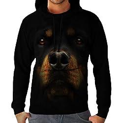 Wellcoda   Rottweiler Dog Rottie Mens Big Face Black Hoodie S-5XL
