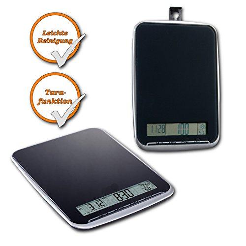 Balance De Cuisine Avec Surface En Verre ,XL Multifonction Pèse Jusqu'à 10kg, Ecran Tactile, Noir