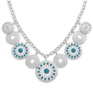 Sterling Silver 20 Inch Southwest Style Necklace - JewelryWeb