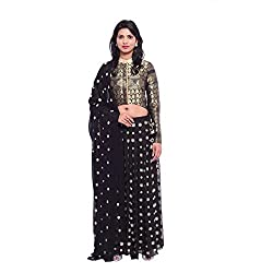 Black georgette floral embroidered lehenga and black brocade jacket with black georgette duppatta