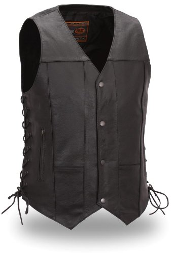 First MFG Men's 10 Pocket Leather Vest. Classic Black. Sidelace. Antique Snaps. FIM630CFD